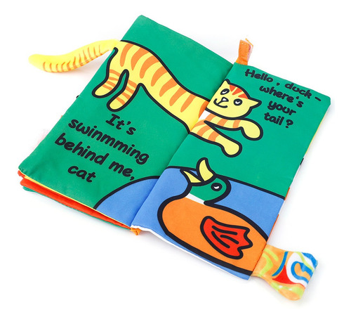 Libro de tela para beb/és juguetes educativos con colas de animales para ni/ños mayores de 3 meses Libro de tela de beb/é Wild Animal