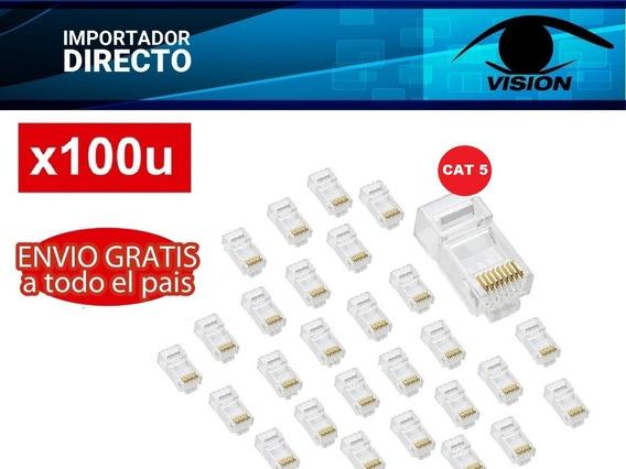 Conector Rj45 Macho Cat5 U Pin De Cobre S/chapado Oro X100