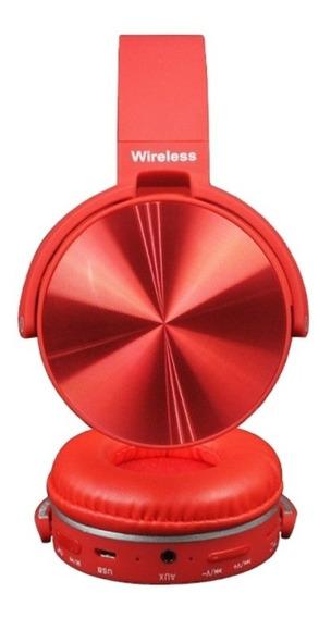 Fone De Ouvido Bluetooth Vermelho S/fio Cartão Sd Rádio