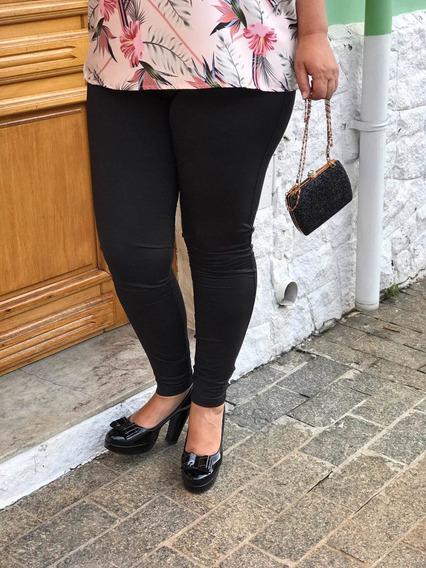 Roupas Feminina Calca Legging Preto Plus Size Flanelada Tamanho Grande