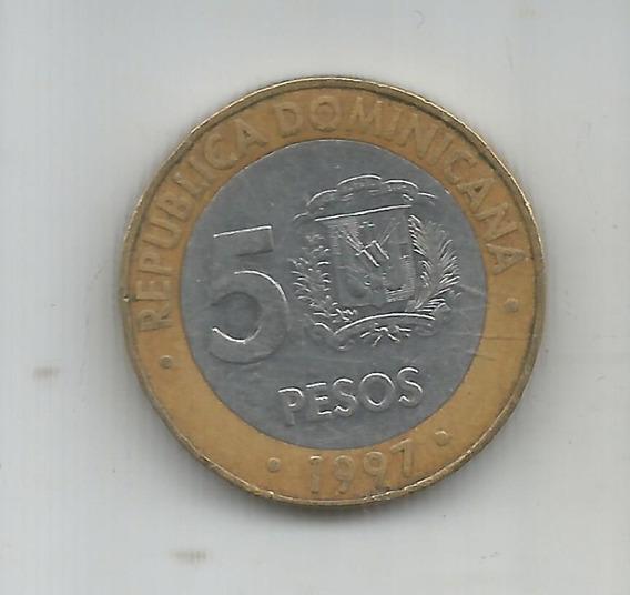 M 6737 Rep Dominicana Moneda Bimetalica 5 Pesos 1997