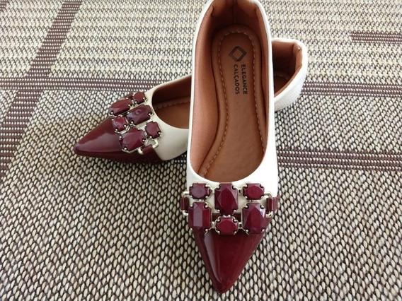 Sapatilha Feminina Sapato Elegance Com Pedraria