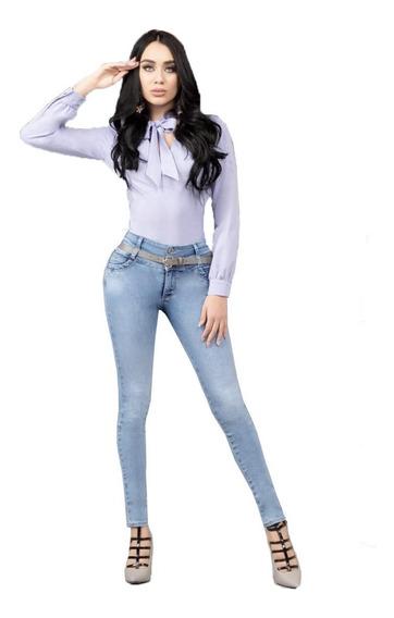 Jeans Mujer Pantalón Colombiano Mezclilla Strech Push Up 001