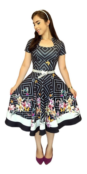 Vestido Gode Duplo Floral Princesa Moda Gospel Revenda Roupa