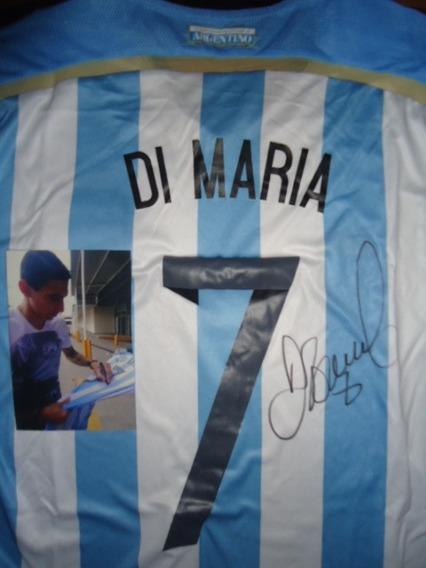 Autografiada! Camiseta Argentina #7 Di Maria