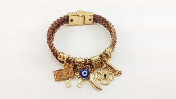 Pulseira Feminina Couro Berloque Dourado Amuletos Sorte