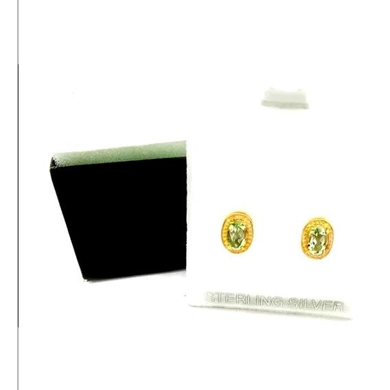 Aretes 100% Natural Peridoto Plata 925 Chapado En Oro 18k