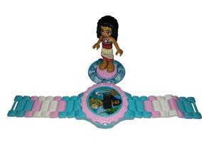 Relógio Infantil Princesa Moana Boneca Lego Blocos De Montar