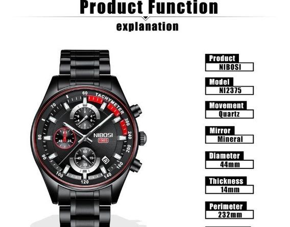 Relógio Masculino Nibosi Quartzo Modelo 2375 Preto
