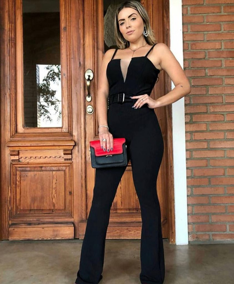 Macacão Feminino Decote Reto Com Tule Alcinha Com Cinto Corte Flare Fecho Zíper Malha Crepe Social Elegante Pmg Bloguer