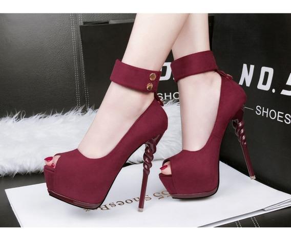 Lindo Sapato Feminino Sexy Peep Toe Salto Luxo Importado