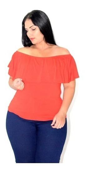 Blusa Camiseta Feminina Com Babado No Ombro - Plus Size