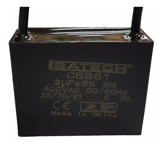 Capacitor Marcha Cuadrado De 3uf 400v 50/60hz Isatech