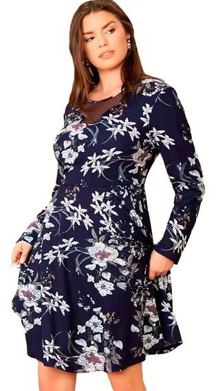 Vestido Shein Floral Azul Con Detalle Tul Plus Size 3x 4x