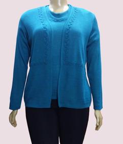 Blusa Feminina Plus Size Conjunto Twin Set Lã Tricot-539