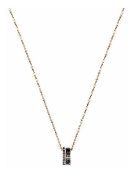 Collar De Plata Con Cadena En Oro Rosa Plata 925