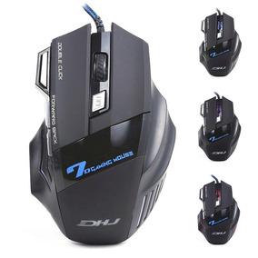 Mouse Gamer Led Dhj X7 Óptico 3200dpi Pc 7 Botões Promoção