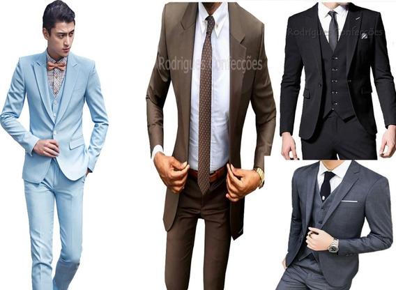 Terno Slim Masculino Oxford + Colete Sapato Smoking