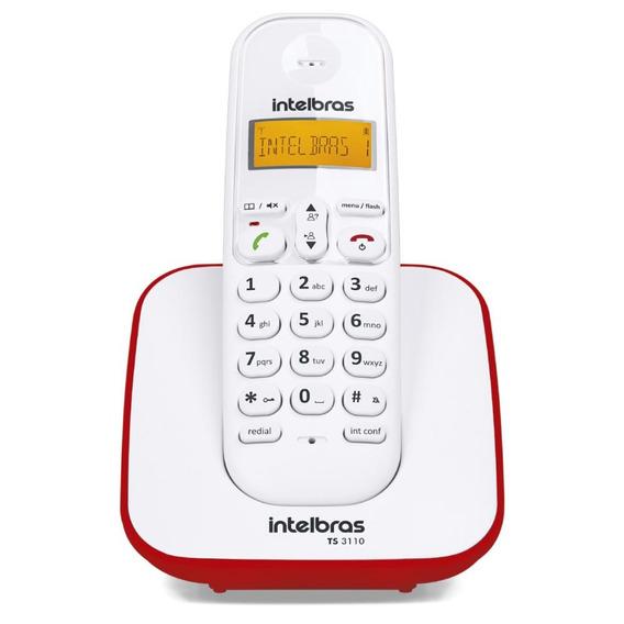 Telefone S/ Fio Intelbras Luminoso Dect 6.0 Ts 3110 Bco/verm