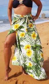 Saída De Praia, Saia Pareô Luxo, Cléo Floral, Moda Praia