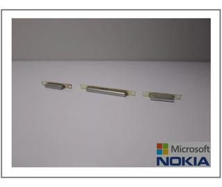 Nokia Lumia 925 - Jogo De Botão Externo Lateral Cinza Claro