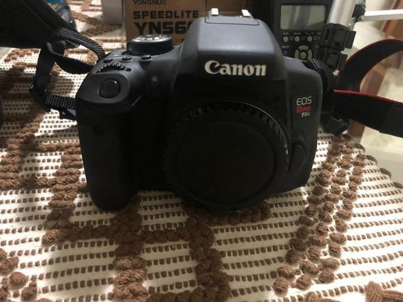 Kit Canon T6i Em Ótimo Estado (câmera+lente 18-55+lente 75-300+microfone Boya+flash Yongnuo+tripe+bolsa+cartão 8gb)