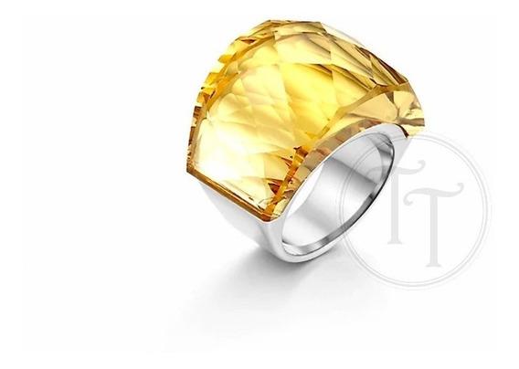 Anillo Tiesto Titanio 18k Swarovski Yellow