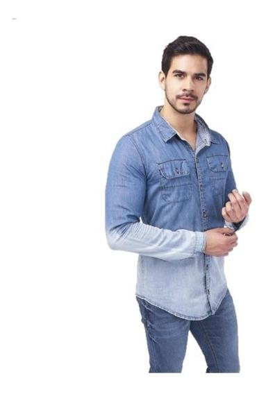 Camisa Caballero Azul Mezclilla 019246 Mundo Terra