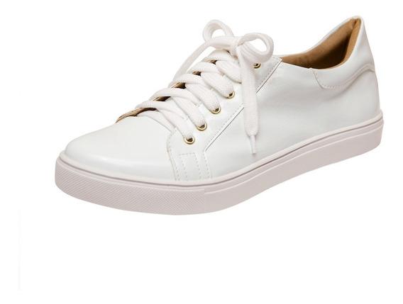 Tênis Feminino Da Moda Branco Verniz Promoção