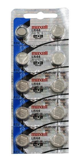 10 Baterias Pilha Maxell Lr 44 Baterias Original Relógio
