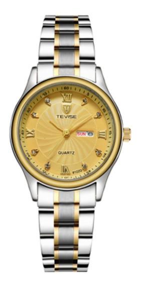 Relógio De Pulso Tevise 8122q Luxo Quartz Res Água