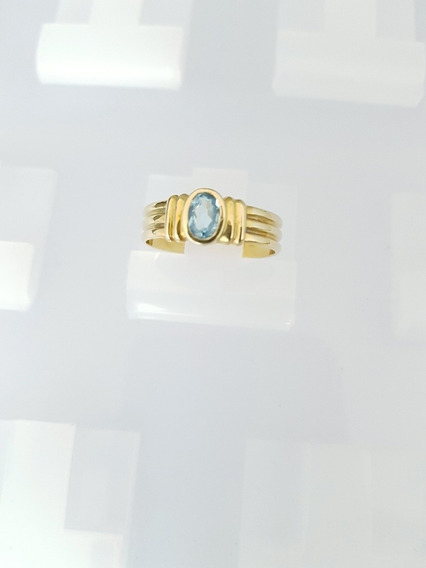 Anel Ouro Amarelo Pedra Topázio Azul