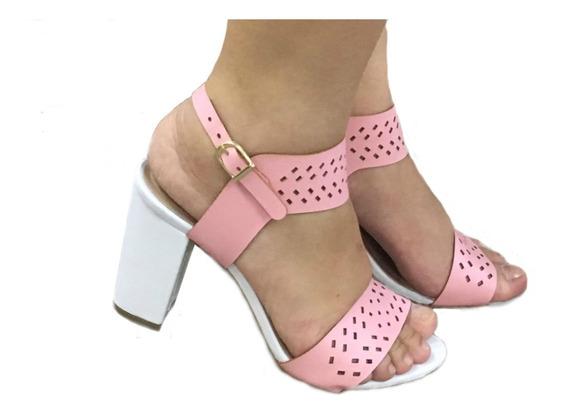 Sandalias Femininas Branco E Rosa Pink Salto Medio Salto Grosso Sapatos Femininos Saltos Baratos Promocao Casual Festa