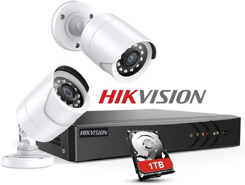 Imagen 1 de 9 de  Kit 2 Camaras Seguridad Hikvision Hd Dvr Disco Rigido 1tb