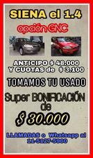 Entrega Tu Usado O $42.000 Y Cuotas // Fiat Siena 1.4 Gnc.