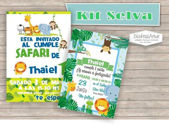 Tarjetas Invitaciones Digitales Selva Jungla De Animales