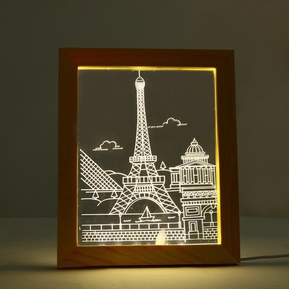 Kcasa Fl 712 3d Foto Quadro Iluminante Led Noite Luz De Made
