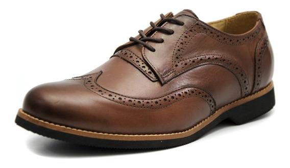 Sapato Masculino Tamanho Especial Oxford Couro Chocola6810/3