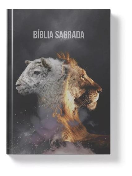 Bíblia Sagrada Cordeiro E Leão Naa Letra Normal Capa Dura