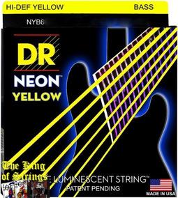 Encordoamento P/ Baixo De 6 Cordas Dr Neon - Amarela