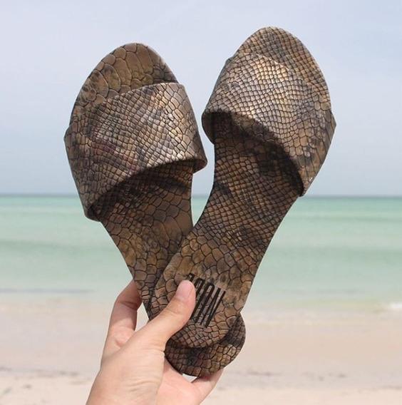 Sandalias Nude Mx Dama Playa Casuales Strap All Chikoo Piton