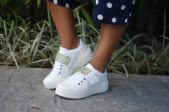 Tênis Feminino Casual Branco Velcro Com Pedra Pedraria