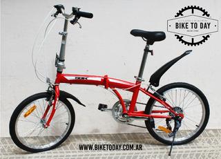 Bicicleta Plegable Rod. 20 Sbk Voyage 6 Velocidades Roja