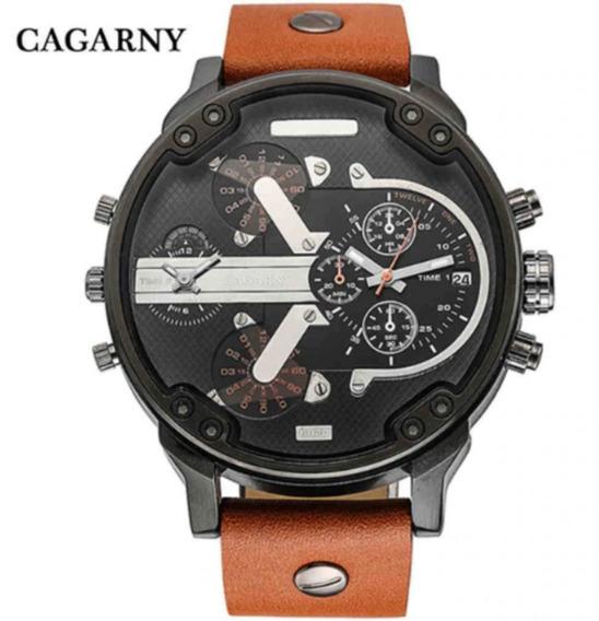 Relógio Masculino Esportivo Cagarny 6820 Quartz Couro Preto