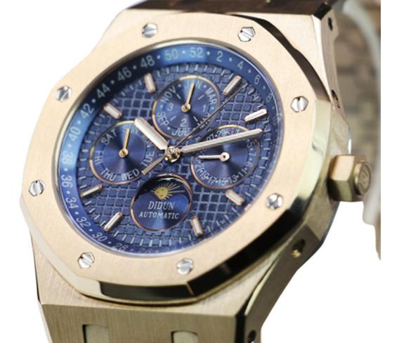 Reloj Moon Phase Chapado En Oro 14k | Automático 21 Rubíes!!