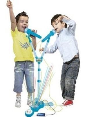 Microfone Infantil Duplo Com Amplificador Karaoke E Pedestal
