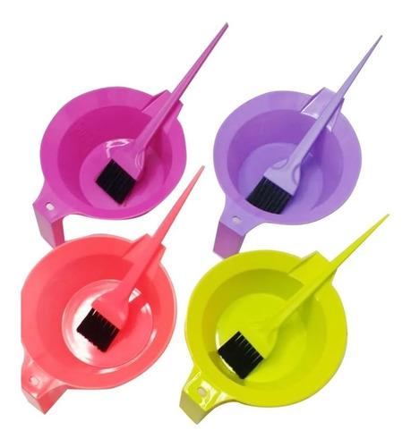 Kit Bowl + Pincel Colores Para Tintura Coloracion En Casa