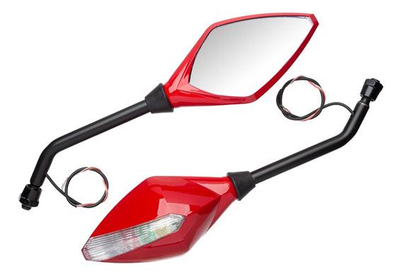 Retrovisor Esport Pisca Light Vermelho Honda Bros 150 Esd 11