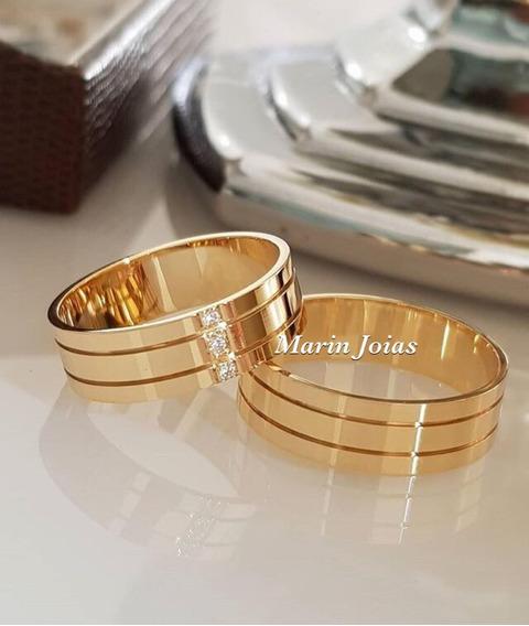 Alianças Ouro 18k 8 Gramas 7mm Diamante Casamento Anatômica
