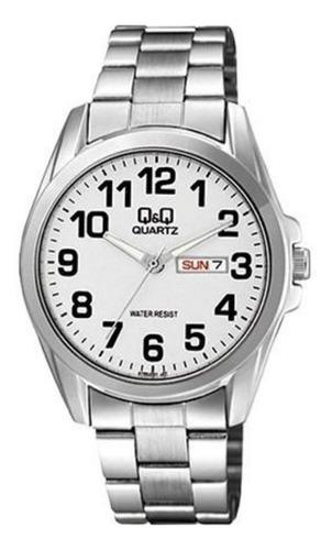 A190-204y - Reloj Q&q P/m Acero  Doble Calendario